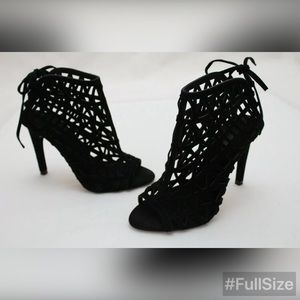 Zara Basic Black Caged Lace Up Open Toe Booties